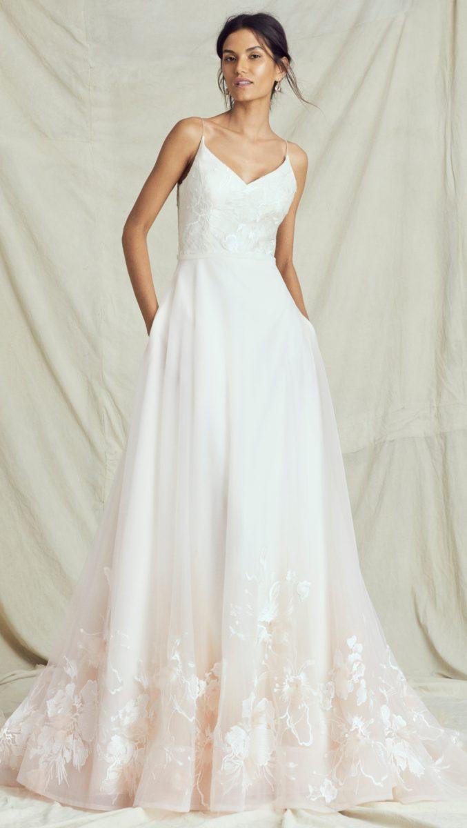 Blush spaghetti strap ball gown wedding dress by Kelly Faetanini