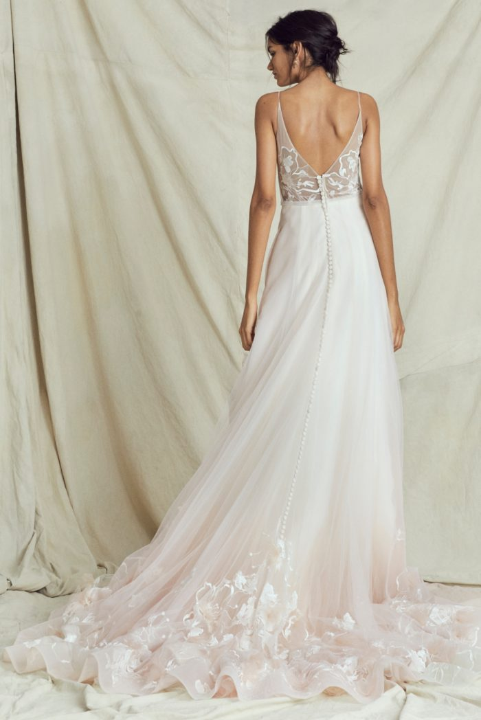 Blush Ombré embroidered tulle ball gown wedding dress by Kelly Faetanini
