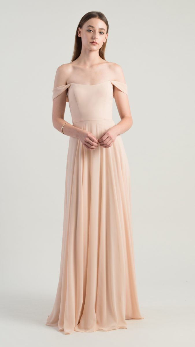 Off the shoulder bridesmaid dress by Jenny Yoo for Bella Bridesmaid