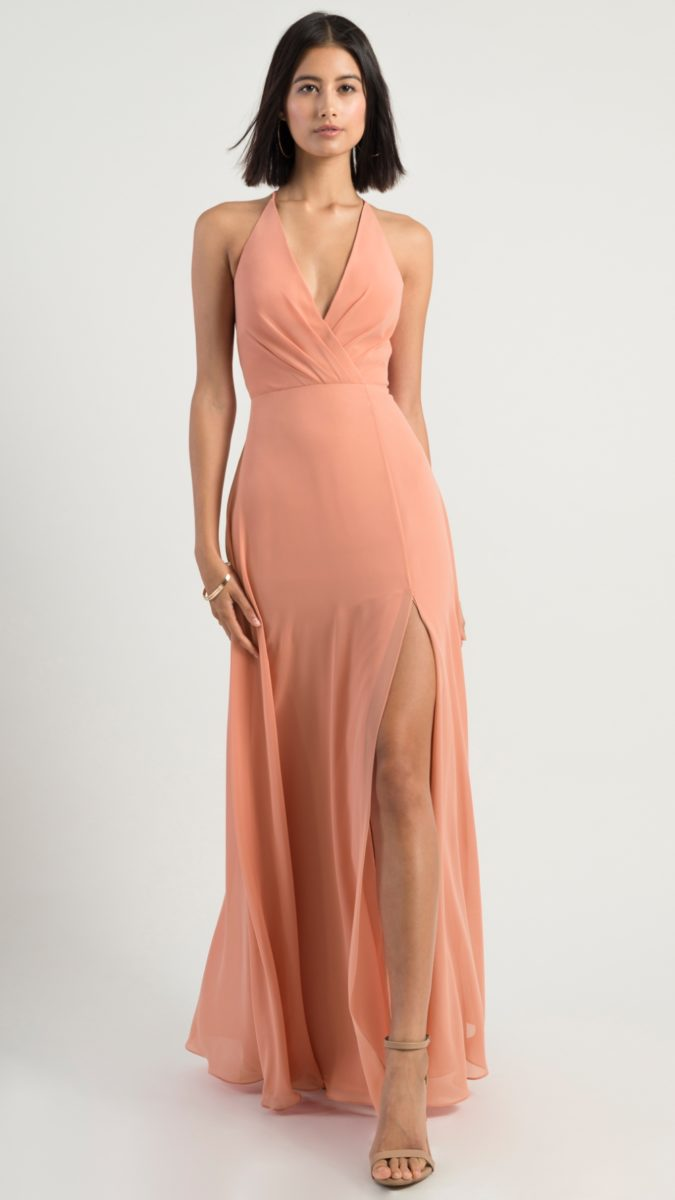 Wrap style bridesmaid dress