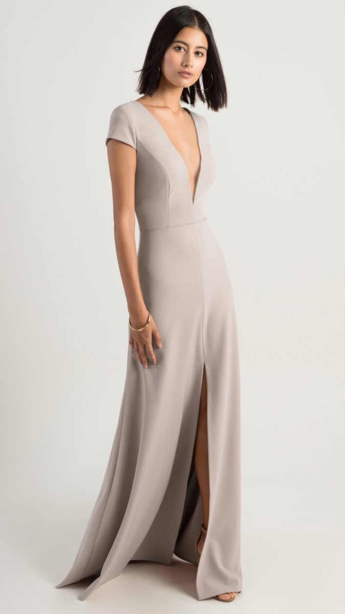 Plunge neck gray bridesmaid dress with short sleeves | Cara by Jenny Yoo