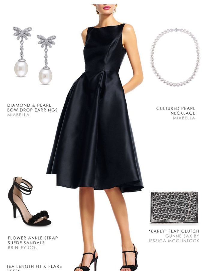 Classic black dress for a winter wedding guest 2018-2019