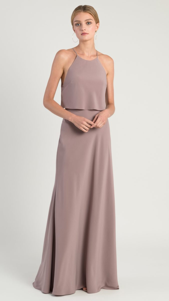 Taupe blouson modern bridesmaid dress | Elle by Jenny Yoo