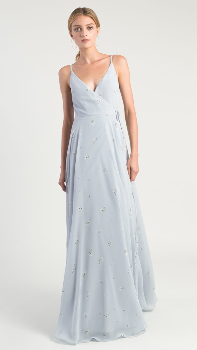 Pale blue printed bridesmaid dresses with wrap style maxi dress | James by Jenny Yoo