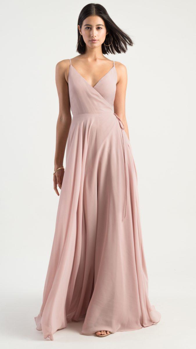 Blush wrap bridesmaids dress with spaghetti straps | James by Jenny Yoo