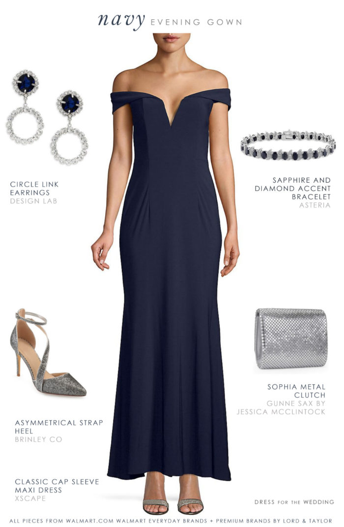 Navy blue evening gown and accessories for winter wedding