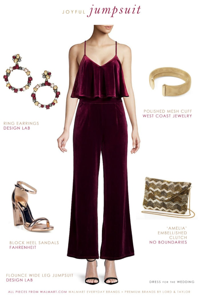 Red velvet jumpsuit for the holidays