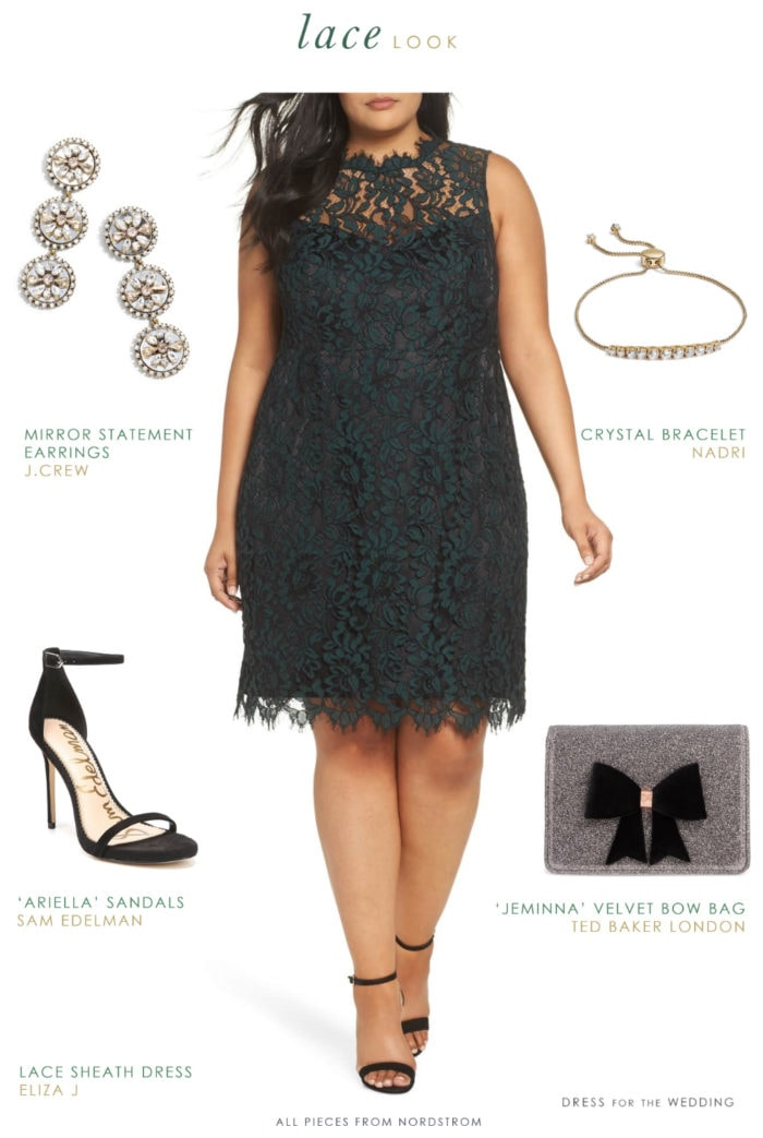 Dark green lace sheath dress plus size with accessories