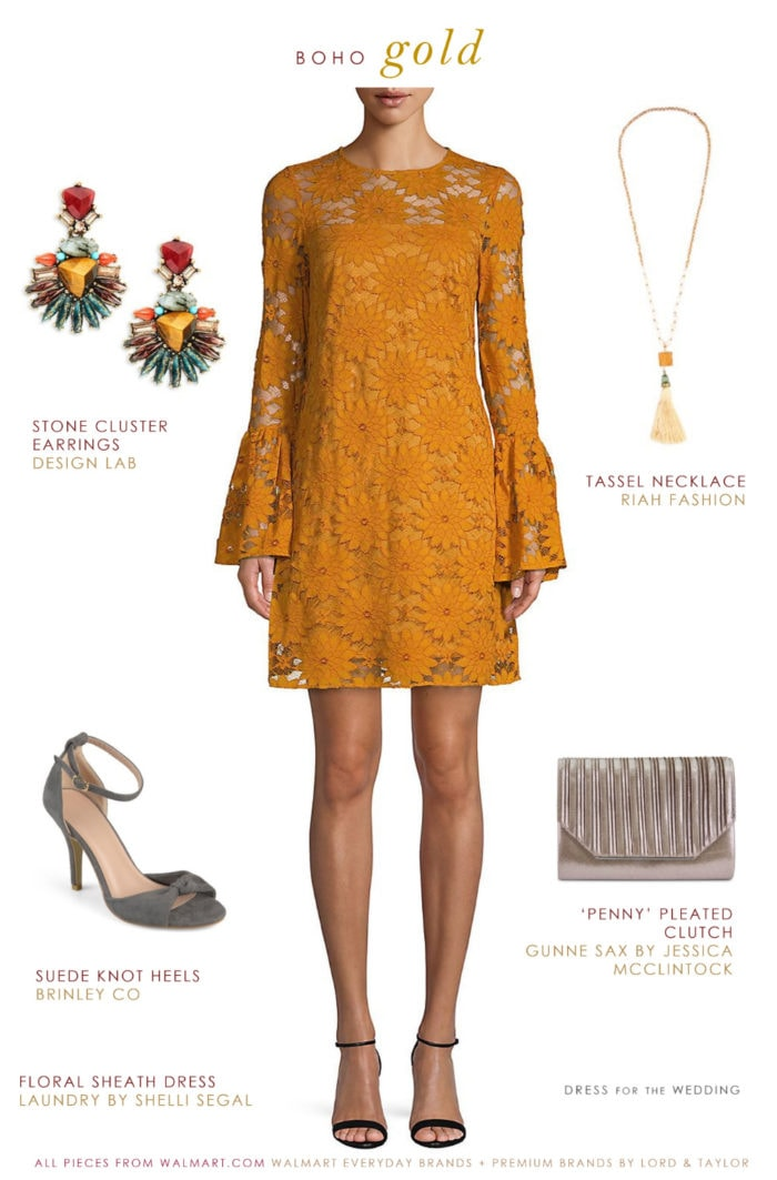 Gold lace shift dress and accessories for winter wedding guest