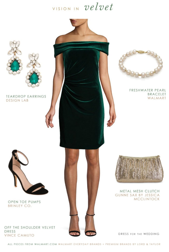 Green off-the-shoulder velvet dress | Holiday Dresses from Walmart