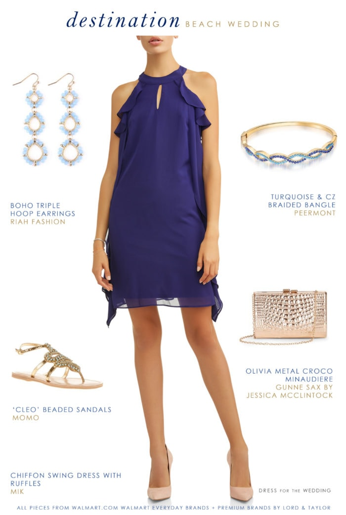 Cobalt blue dress and accessories for a casual destination beach wedding 2018 2019