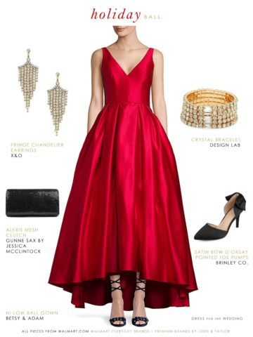 Red satin ballgown for formal holiday event