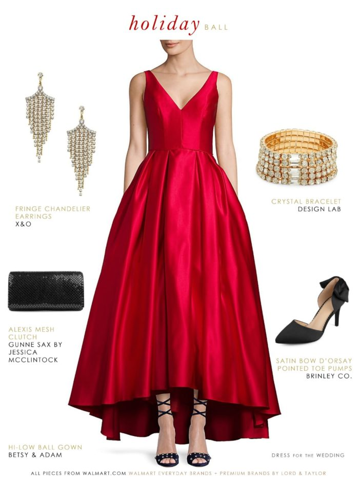 f20a3ff9730 Holiday Ball Gown. Red satin ballgown for formal holiday event. Items from  Walmart.com and Walmart Premium Brands from Lord   Taylor.
