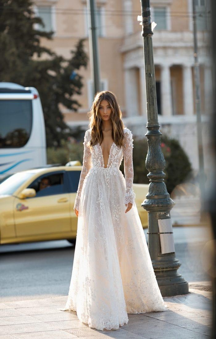 Long sleeve Berta designer wedding dresses for 2019