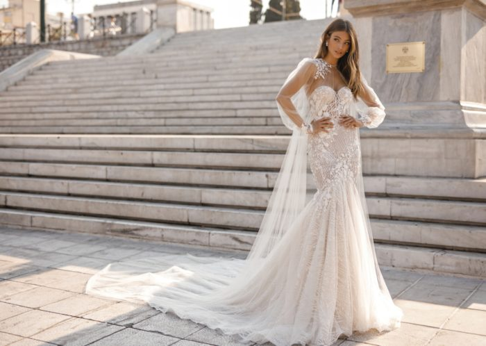 BERTA wedding gown with cape
