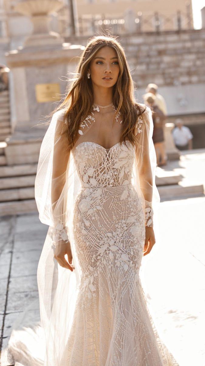 Wedding dress with sheer full long sleeves   Berta Wedding Gowns
