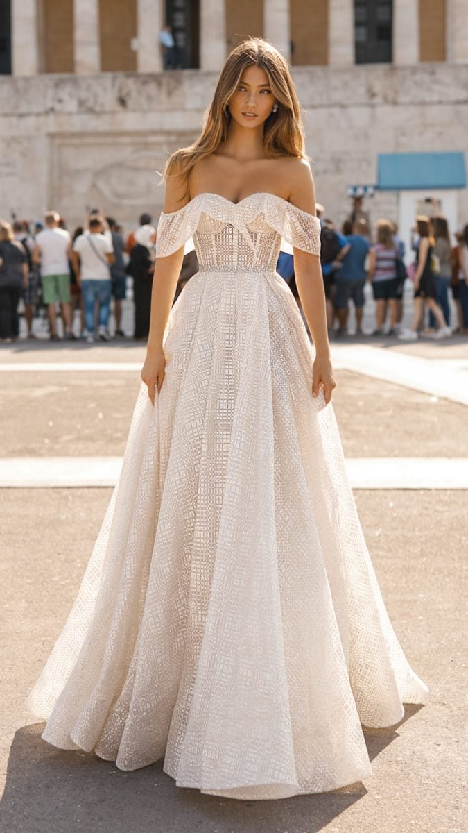 Off the shoulder shimmery bridal gown   BERTA Athens Collectioin