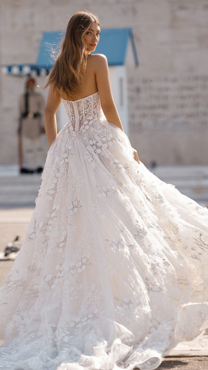 Strapless floral ball gown wedding dress by BERTA Bridal