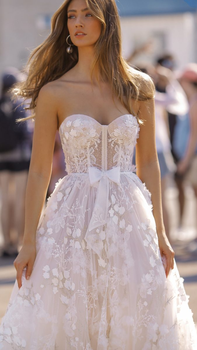 Strapless wedding dress with dimensional floral appliques   BERTA wedding dresses 2019