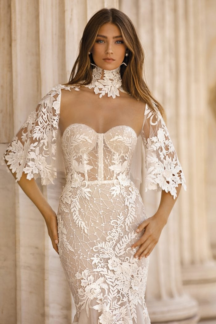 BERTA wedding dress with lace cape and high neck