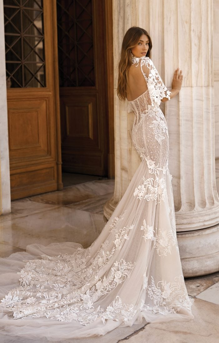 Lace wedding dress with open back by BERTA bridal