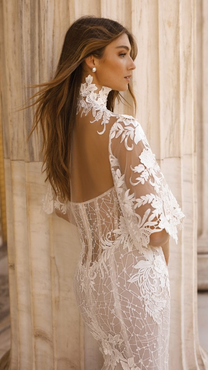 Top designer couture bridal with high neck lace gown   BERTA Style 19-103