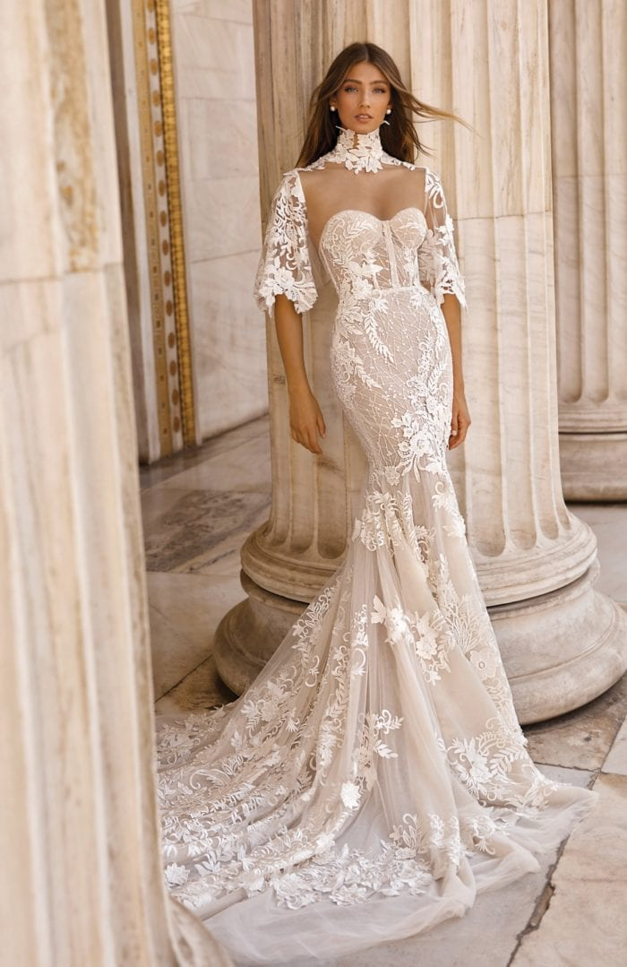 Top designer couture bridal with high neck lace gown