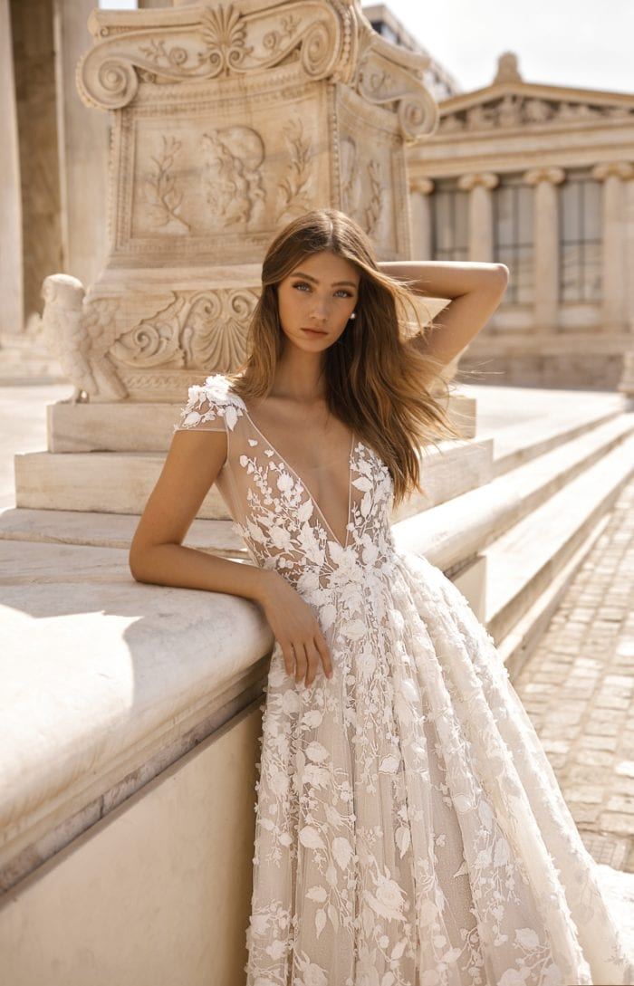 Cap sleeve lace ballgown | Berta Bridal Couture