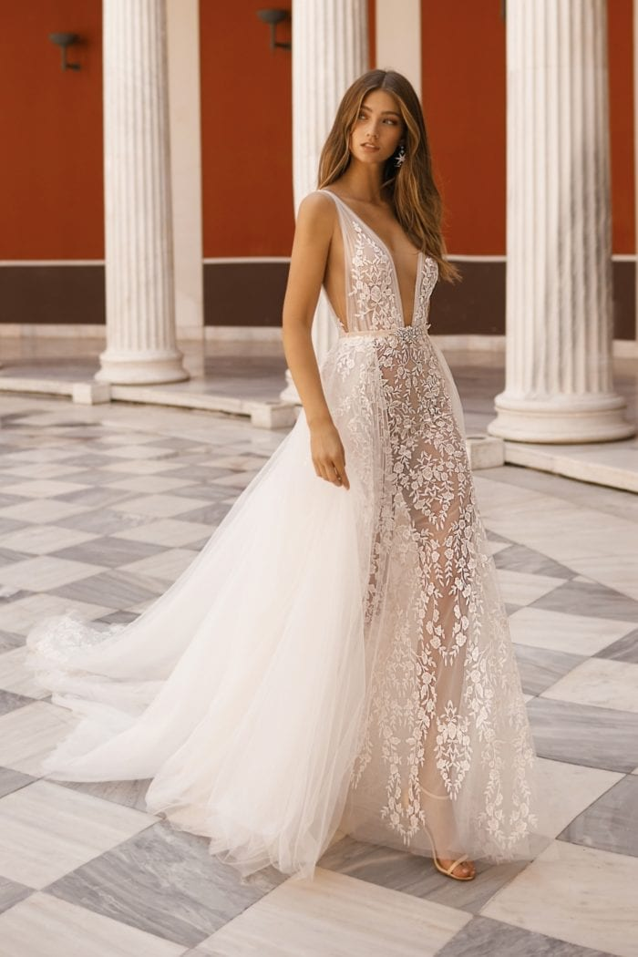 Sheer designer bridal gown with tulle overskirt | BERTA Bridal 2019