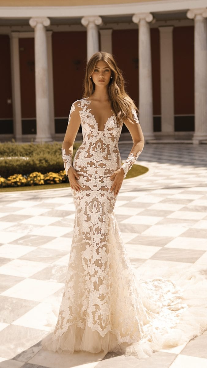 Long sleeve sheer lace gown with long sleeves
