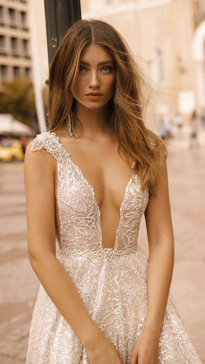 Cap sleeve plunging neckline BERTA couture gowns