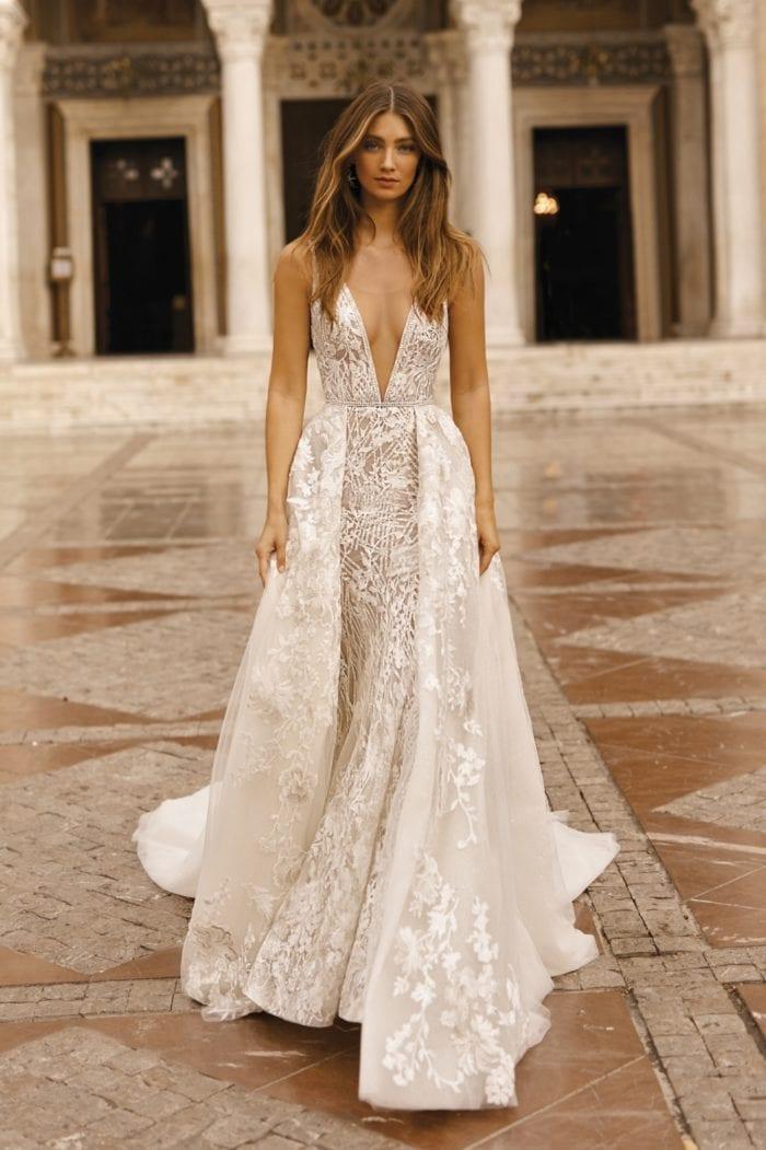 Stunning wedding dress with overskirt   BERTA Bridal Couture