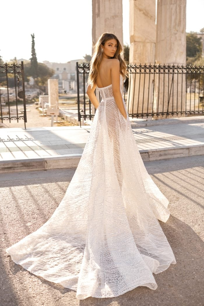 Sheer strapless geometric beaded bridal gown