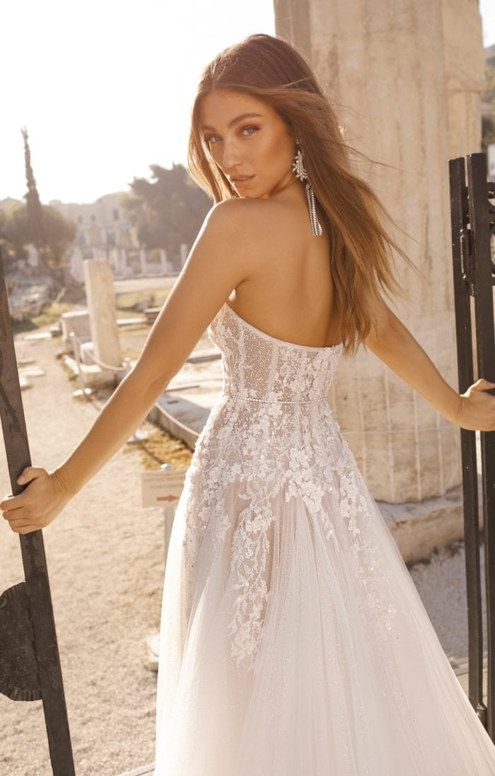 Strapless embellished lace wedding dress by Berta Bridal
