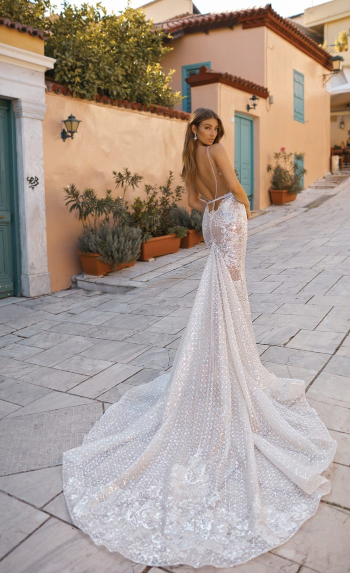 Couture wedding dress with an amazing train