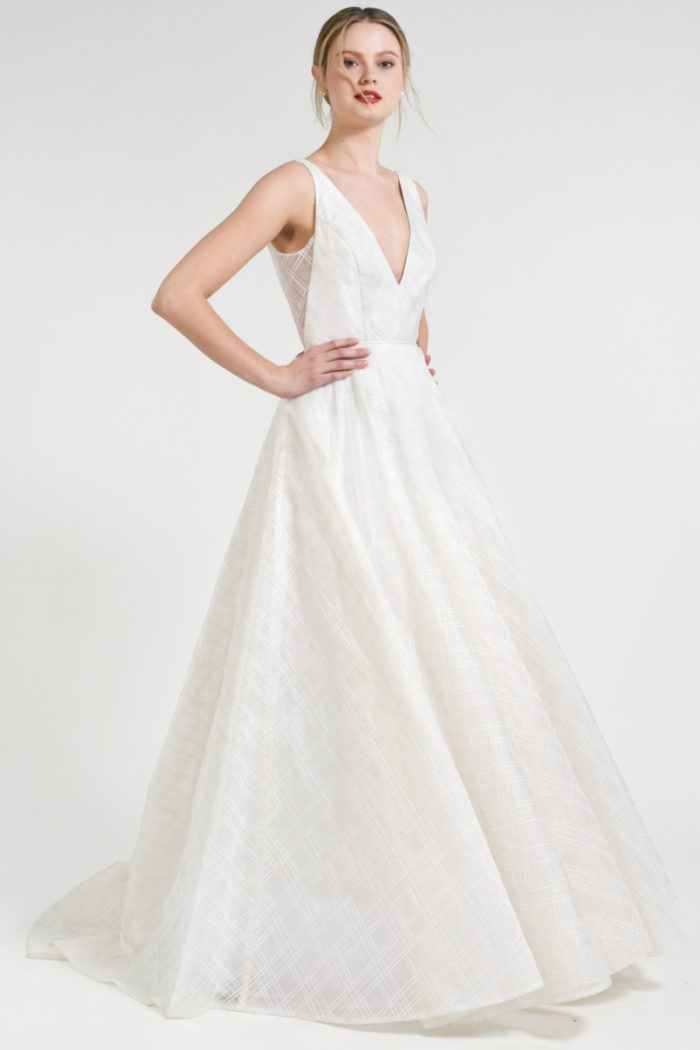 Jenny by Jenny Yoo Ballgown Plaid organza wedding dress with sheer side panels