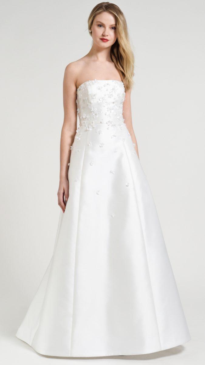 Strapless a line wedding dress with floral details | Odette Jenny by Jenny Yoo