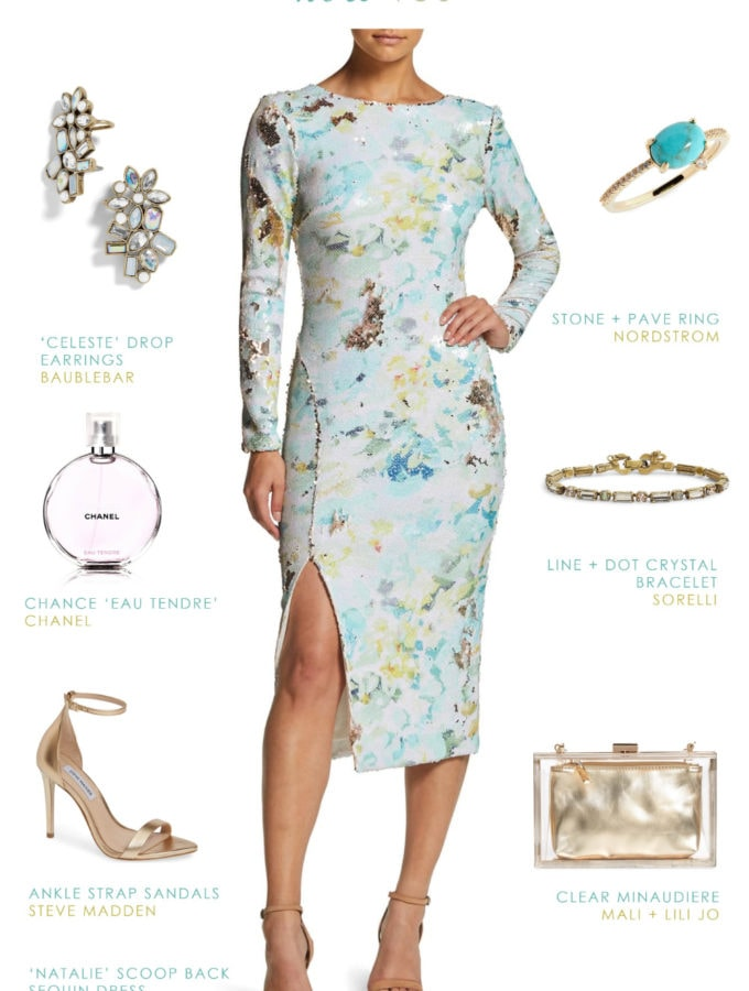 White print sequin dress with long sleeves | Outfit idea Dress the Population Natalie