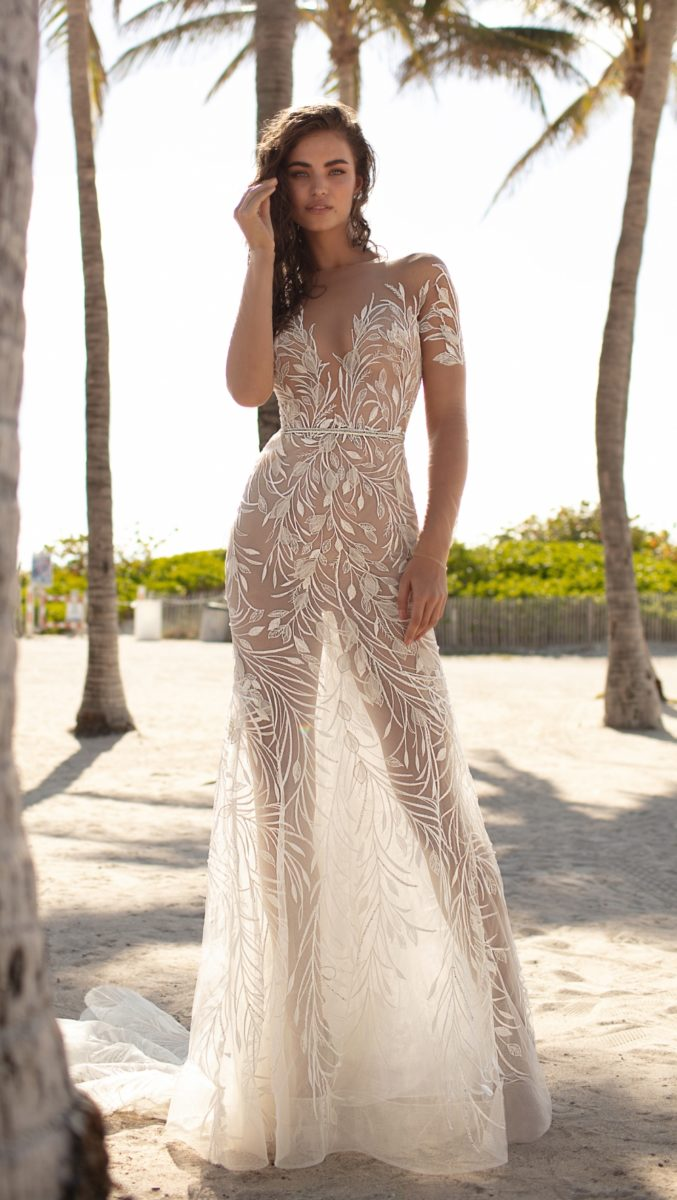 Wedding dresses by Berta | Sheer lace designer wedding dress