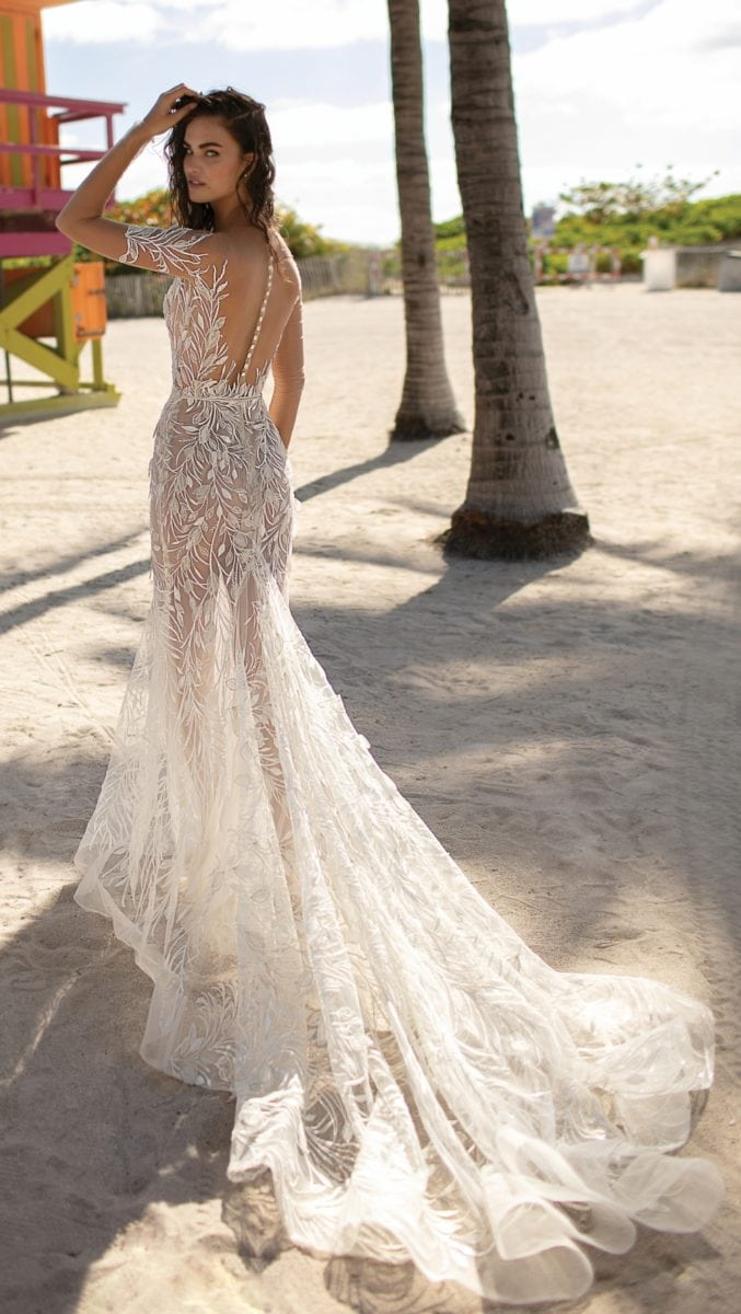 Berta Wedding dress with long train | Spring 2019 Berta Bridal | Sheer wedding dress with train