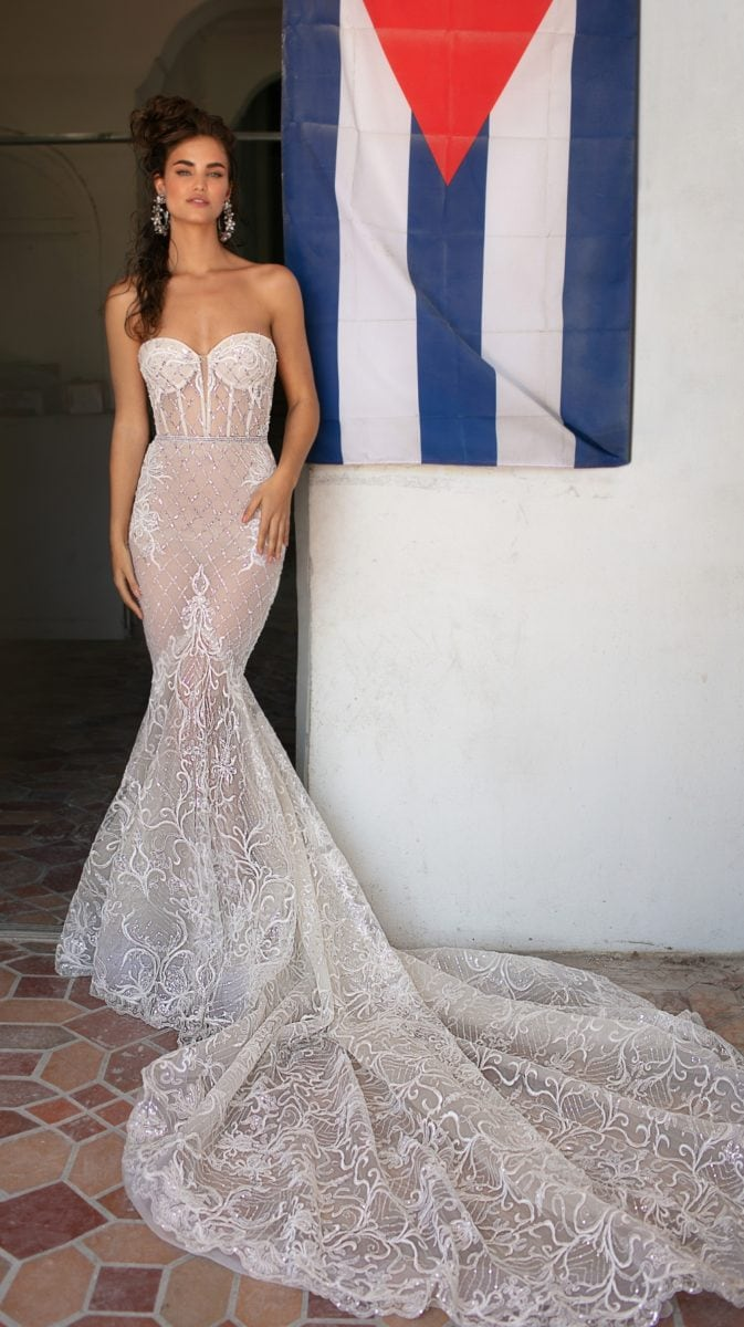 Strapless sheer corset bridal gown with long train