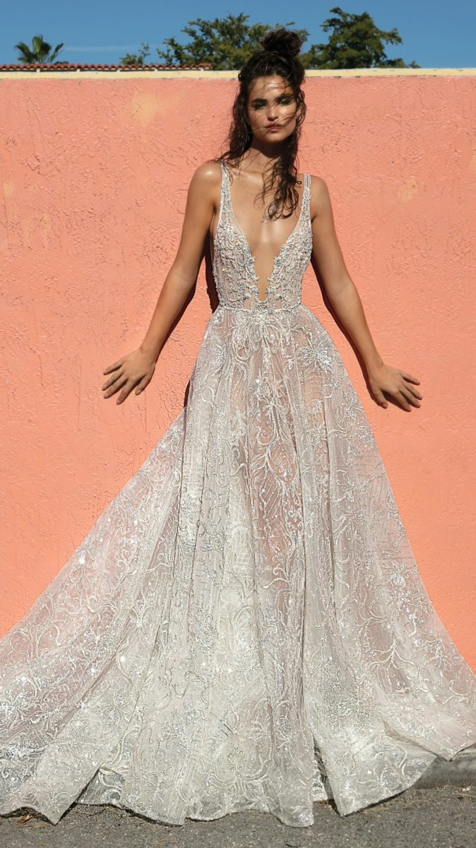 Sheer silver bridal gown by Berta Bridal