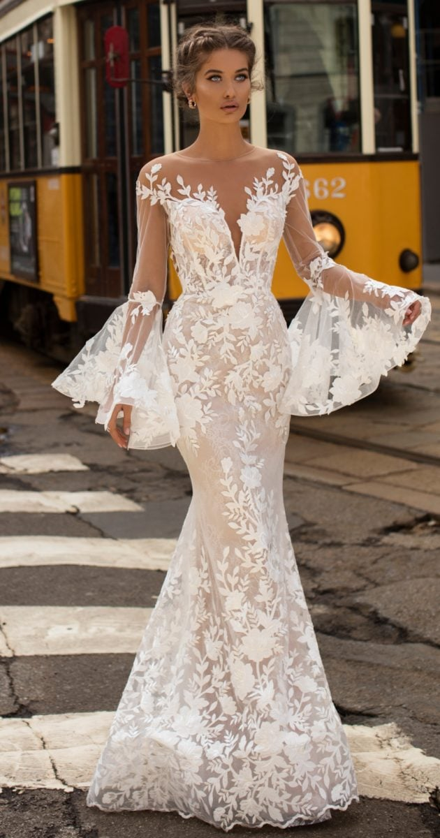 Tarik Ediz Wedding Dresses with long lace bell sleeves