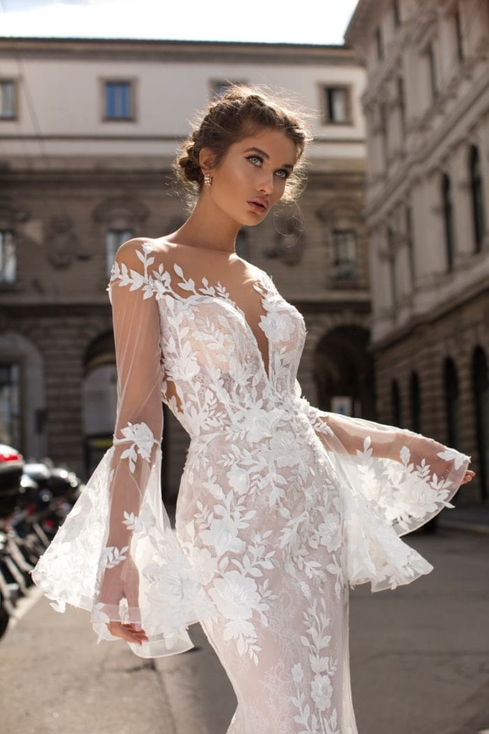 Designer wedding dress with plunging neckling