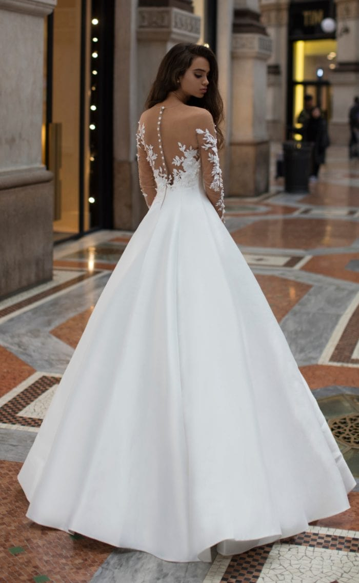 Ball gown designer wedding dress with long sleeves