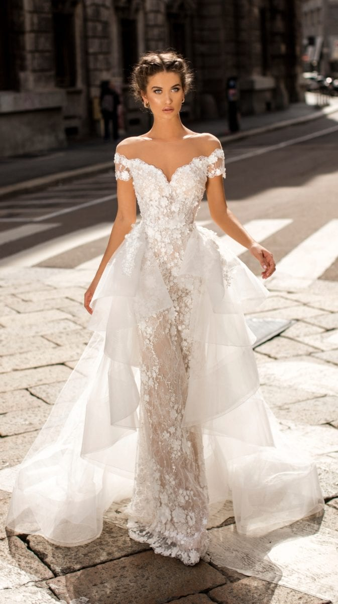 Wedding dress with overskirt