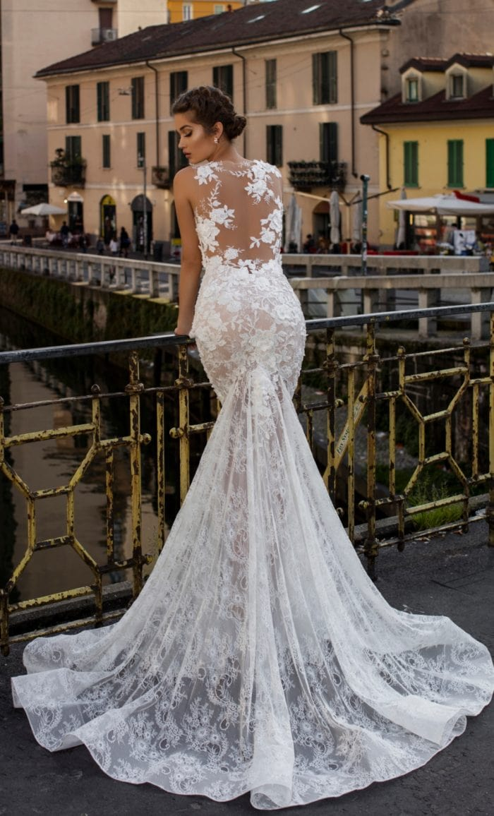 Illusion back Tarik Ediz bridal gown