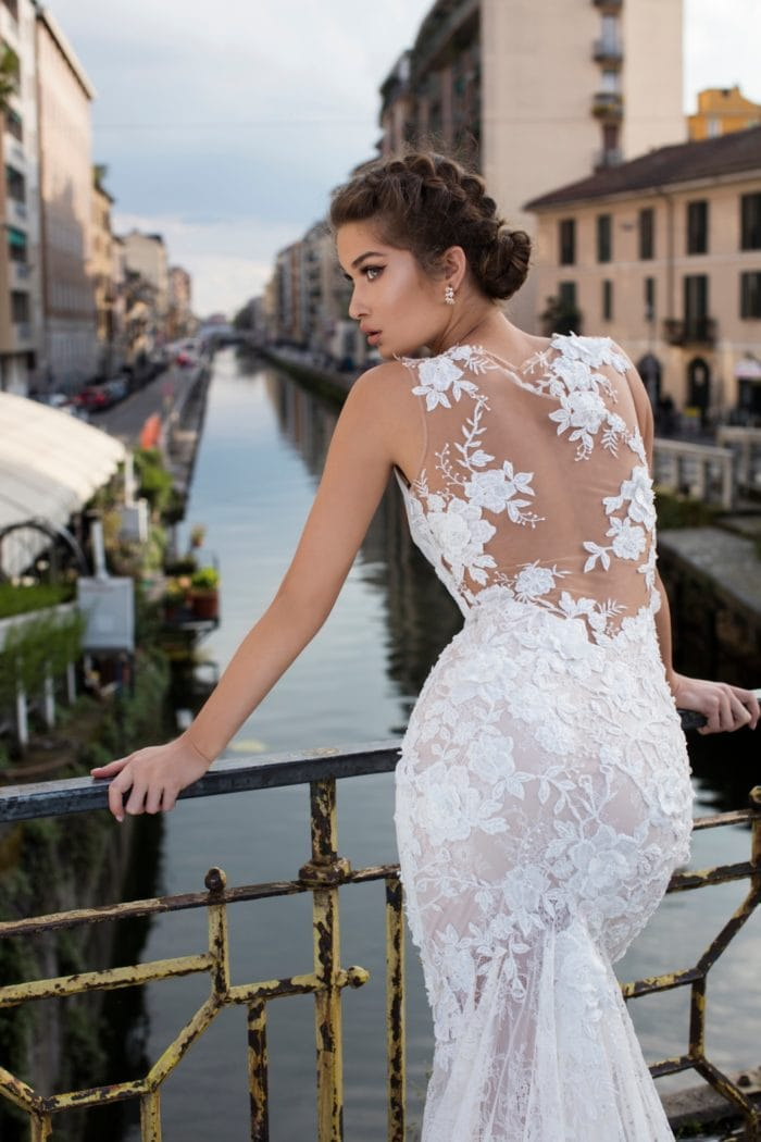 Designer wedding dress with Illusion back | Tarik Ediz 2019 bridal gown