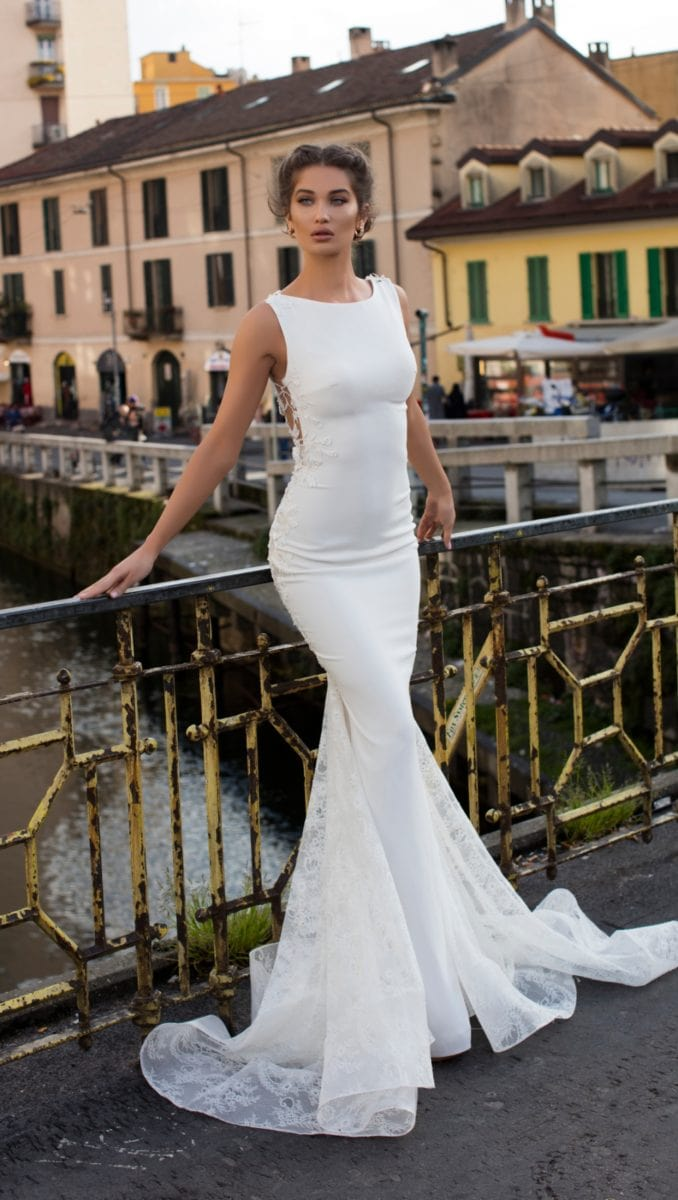 Sleek boatneck wedding dress