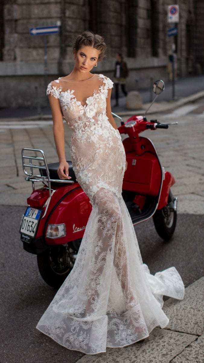 Lace illusion designer bridal gown